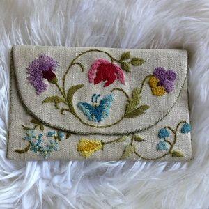Vintage Embroidered Envelope Clutch